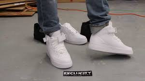 air force 1 mid white white on feet video at exclucity youtube air force 1 mid