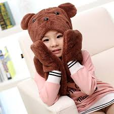 <b>2016 hot sale</b> boys and girls cute bear cartoon hats scarves gloves ...