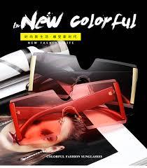 2020 <b>Oversized</b> Square <b>Rimless Sunglasses Women</b> Brand ...