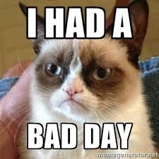 i had a bad day - Grumpy Cat | Meme Generator via Relatably.com