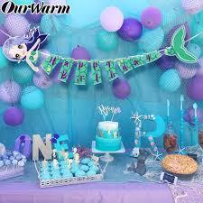<b>OurWarm</b> 140cm Mermaid Party Happy Birthday Banner Kids ...