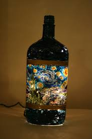 best images about starry night by vincent van gogh van gogh starry night on recycled bottle hand painted and made into a lamp or