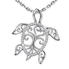 <b>MANBU 925</b> Sterling Silver Tree of Life Celtic Sea Turtle Pendant ...
