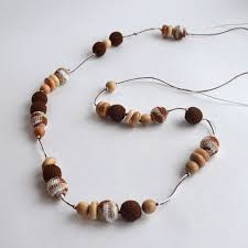 Long <b>Brown Beige</b> Nursing Necklace, Organic and Natural Sling Toy ...