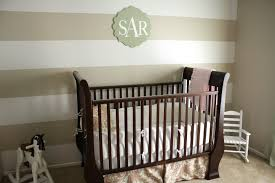 small white wooden nursery room set with brown striped wall paint plus decorative rocking chair boy high baby nursery decor