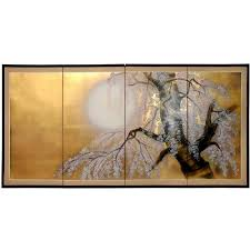 oriental furniture asian art and home decor 6 feet long japanese style gold leaf folding wall screen sakura blossom 72 inch l by 36 inch t by oriental asian style furniture asian
