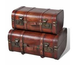 <b>Wooden Treasure Chest 2</b> pcs Vintage Brown | Wooden trunks ...