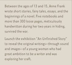 anne frank the writer   an unfinished storyanne frank  between the ages of  and    anne frank wrote short stories  fairy tales