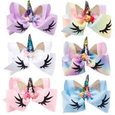 6 Inch <b>Glitter Unicorn Hair Bows</b> With Horn Jojo Bows for <b>Girls</b> ...