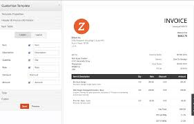 zoho invoice pricing features reviews comparison of zoho invoice screenshot zoho invoice customize template
