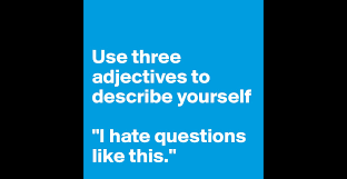 use three adjectives to describe yourself i hate questions like use three adjectives to describe yourself i hate questions like this post by swatchusa on boldomatic