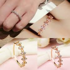 3 Colors New CZ Stone Lace Flower Ring Gold Color Women ...
