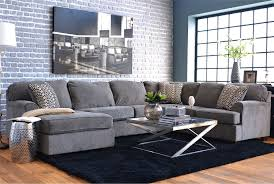 f fantastic grey brick walls of small apartment living room design with u shaped grey fabric sofa and glass coffee table using chrome polished steel frame brick living room furniture