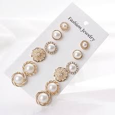 6 Pairs New <b>Korea</b> Design Temperament Round Pearl <b>Retro Earring</b> ...