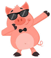 <b>Funny Pig</b> Cartoon Character With Sunglasses Dab Dabbing. Vector ...