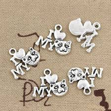 99Cents <b>12pcs</b> Charms i love my cat <b>17mm</b> Antique Making pendant ...