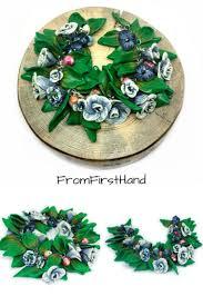 Polymer clay roses bracelet <b>White blue</b> flower charm bracelet ...