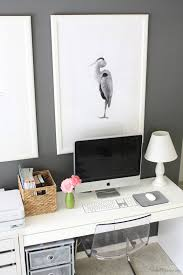 black and white bird art above home office area art for home office