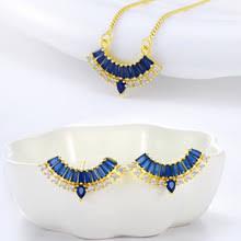 <b>Элегантный Синий Кристалл</b> Циркон Стразы Pendans ожерелье ...