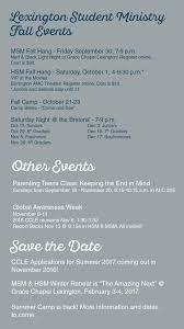 lexington hsm chapel fall events calendar