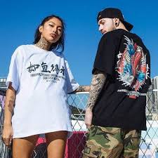 Tshirt Men Japanese <b>Streetwear</b> Hip Hop Chinese <b>Style</b> Koi / Fist ...