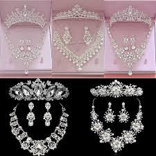 <b>Luxury</b> Rhinestone <b>Wedding Jewelry</b> Sets Earrings Geometric ...