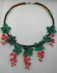 Beaded necklace berries of red currant, exclusive handmade bib ...
