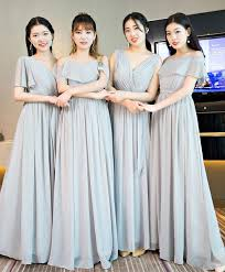 <b>Gray chiffon</b> long prom dress, bridesmaid dress | Shop <b>Elegant</b> ...
