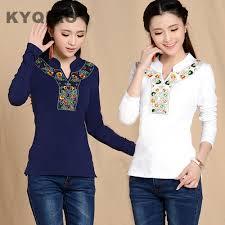 KYQIAO <b>Autumn</b> spring Mexican style vintage <b>stand collar</b> ...