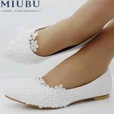 <b>MIUBU</b> Ballet Flats White Lace Wedding <b>Shoes</b> Flat Heel Casual ...
