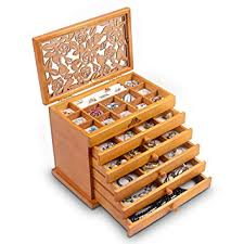 Kendal Real Wood/Wooden Jewelry Box Case (Light ... - Amazon.com