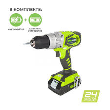 Дрель-<b>шуруповерт</b> ударная <b>аккумуляторная Greenworks</b> (G24CD ...