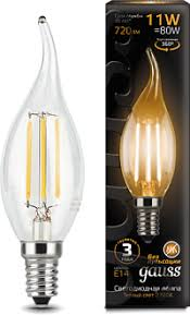<b>Лампа Gauss LED</b> Filament <b>Свеча</b> на ветру E14 11W 720lm 2700K ...