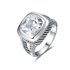 Quiges Antique 925 Sterling Silver Promise Ring with ... - Amazon.com