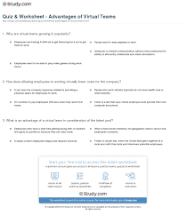 quiz worksheet advantages of virtual teams study com print advantages of virtual teams worksheet