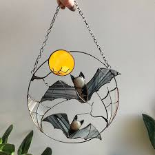 Gothic Bat Moon Dyed <b>Acrylic</b> Suncatcher Decoration
