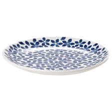 Купить МЕДЛЕМ <b>Тарелка десертная</b>, белый/синий, с рисунком в ...
