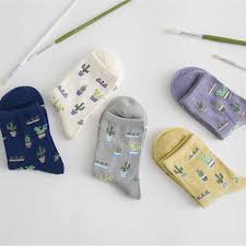 Moonbiffy <b>1Pair Fashion Women Plant</b> Cactus Pattern Cacti Socks ...