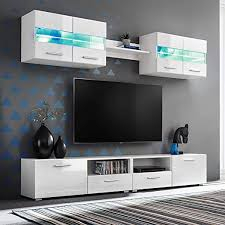 <b>TV Wall Unit Set</b> High Gloss Entertainment Unit with LED Lights for ...
