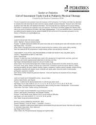 section on pediatrics list of assessment tools used