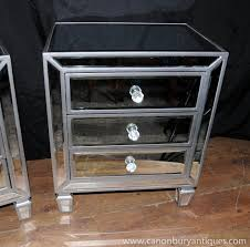 size bedroom mirrored side tables