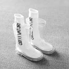 <b>Kids</b> Boys Girls Rainboots <b>Children Transparent</b> Waterproof Rain ...