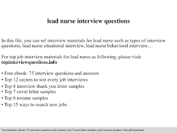 lead nurse interview questions