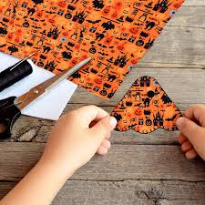25 Pieces <b>Halloween</b> Fabric Ghost Pumpkin Cats <b>Pattern</b> Fabric ...