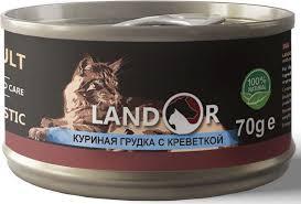 Корм консервированный <b>Landor</b>, для взрослых кошек, <b>куриная</b> ...