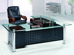 office desk glass top gorgeous black theme office desk design with top glass set excerpt modern black glass office desk