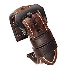 Carty Mens Watch Strap Oil Wax Calfskin <b>Handmade</b> Leather Watch ...