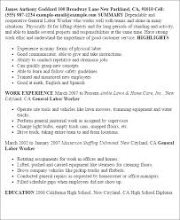 general labor resume   templategeneral labor resume