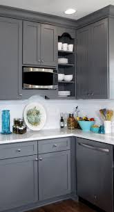 kitchen colors images: gray and white transitional kitchen design with teal blue and yellow accents featuring gray painted cabinetry