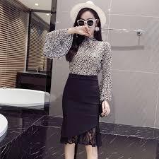 2019 <b>Autumn</b> New Style <b>Large Size</b> Elasticity Hem Lace Joint ...